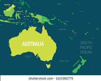 Australia and Oceania map - green hue colored on dark background. High detailed political map of australian and pacific region with country, capital, ocean and sea names labeling.