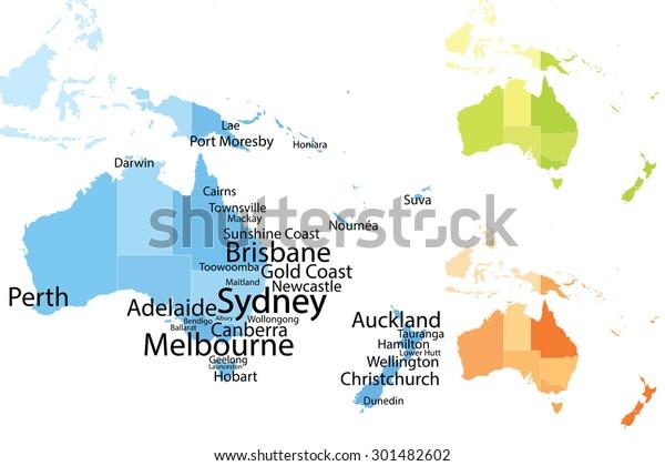 Australia Oceania Map Largest Cities Carefully Arkistovektori