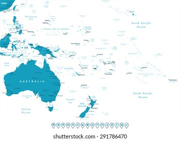 Australia and Oceania - map and navigation labels - illustration