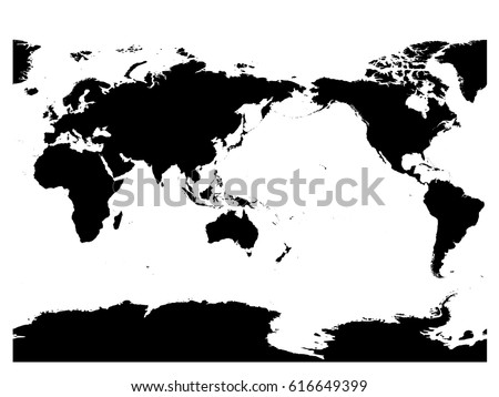 Map Of World Silhouette.Australia Pacific Ocean Centered World Map Stock Vector Royalty