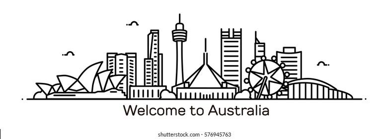 Australia panorama. Vector illustration
