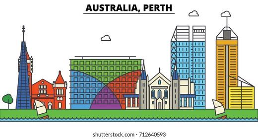 Australia, Perth. City skyline: architecture, buildings, streets, silhouette, landscape, panorama, landmarks. Editable strokes. Flat design line vector illustration concept. Isolated icons set