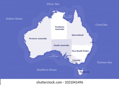 Australia Political Map - Detailed, well organised, layered and easy to edit