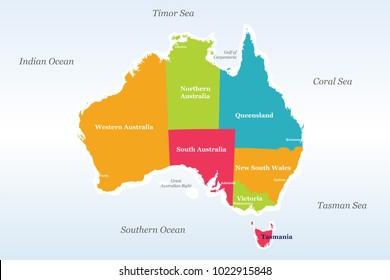 Map Of Australia With Oceans.Ilustraciones Imagenes Y Vectores De Stock Sobre Australia Indian