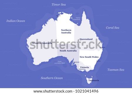 Australia Map Political.Australia Political Map Detailed Well Organised Stock Vector