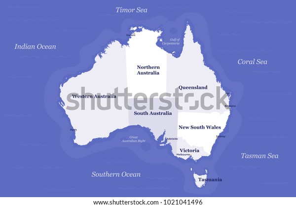 Australia Political Map Detailed Well Organised Stock ...