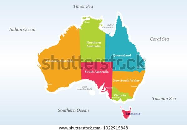 Australia Map Detailed.Australia Political Map Detailed Well Organised Stock Vector