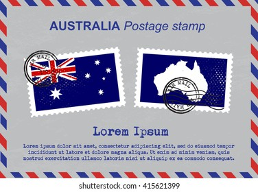 Australia postage stamp, postage stamp, vintage stamp, air mail envelope.
