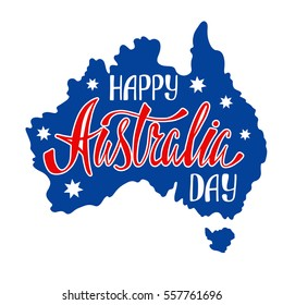 Australia republic day lettering. Typographic national poster with hand written inscription. Map of Australia. Vector illustration