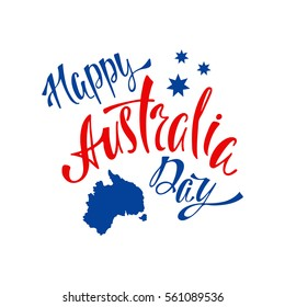 Australia republic day lettering. Typographic national poster with hand written inscription. Vector illustration