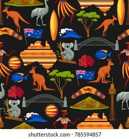 Australia seamless pattern. Australian traditional symbols and objects.