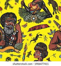 Australia seamless pattern. Boomerang, rock painting, kangaroo, map. Old school tattoo vector background. Ethnic Australian aboriginal tribes bushmen