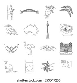 Australia set icons in outline style. Big collection of Australia vector symbol stock illustration