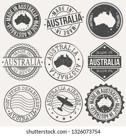 Australia Set of Stamps. Travel Stamp. Made In Product. Design Seals Old Style Insignia.