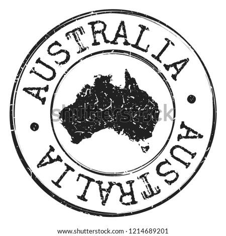 Australia Silhouette Postal Passport Stamp Round Vector Icon