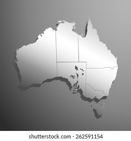 australia silver map with borders