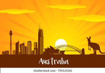 Australia skyline city silhouette and landmark vector for Flat trendy illustration, Travel to Australia, Advertising web illustration, Summer vacation and Travelling banner.
