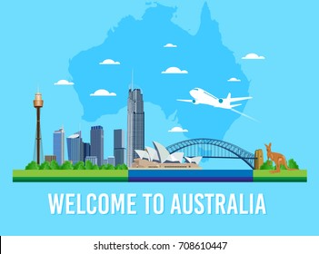 Australia skyline landmark and words welcome to Australia vector for Flat trendy illustration, Travel to Australia, Advertising web illustration, Summer vacation and Traveling banner.