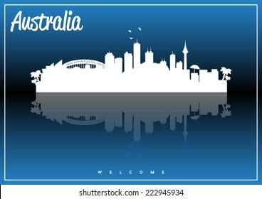 Australia, skyline silhouette vector design on parliament blue and black background.