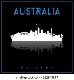 Australia, skyline silhouette vector design on parliament blue and black background.