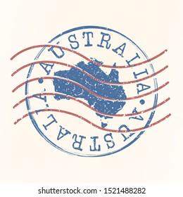 Australia Stamp Postal. Map Silhouette Seal. Passport Round Design. Vector Icon. Design Retro Travel.