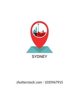 Australia Sydney map city pin point geolocation modern skyline shape pointer vector flat logo web icon illustration