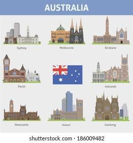Australia. Symbols of cities. Vector set
