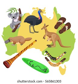 Australia symbols set isolated on map. Koala and kangaroo, sport activities surfboard and boomerang, flightless bird ostrich, duck-billed platypus, didgeridoo wind instrument vector illustration