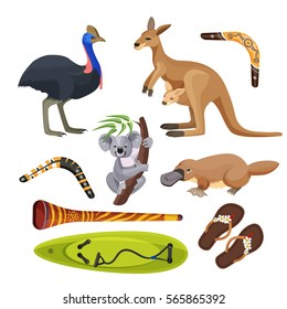 Australia symbols set isolated on white. Flightless bird ostrich, koala on tree branch, kangaroo with joey, surfboard and two boomerangs, duck-billed platypus, didgeridoo wind instrument vector