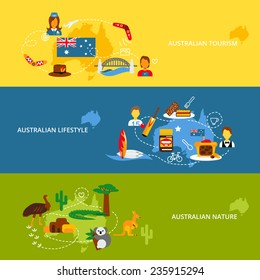 Australia travel flat banner set with australian tourism lifestyle nature isolated vector illustration