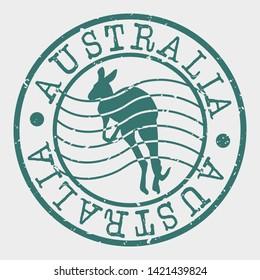 Australia Travel Stamp. Kangaroo Silhouette Seal. Round Design. Vector Icon. Design Retro Insignia.
