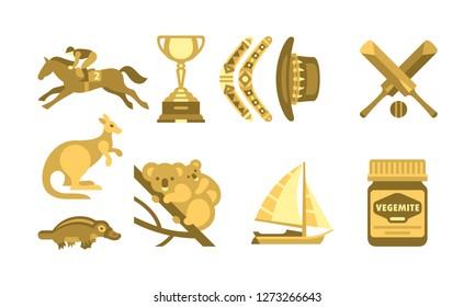 Australia traveling icons set, Australian traditional symbols vector Illustration