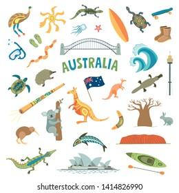 Australia vector collection. Color symbols on white background