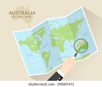 Australia vector map. World Map with Magnifying Glass - Australia in Focus. Folded map with magnifier.