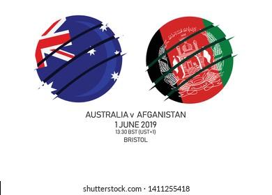 Australia vs Afghanistan, 2019 Cricket Match, Vector illustration