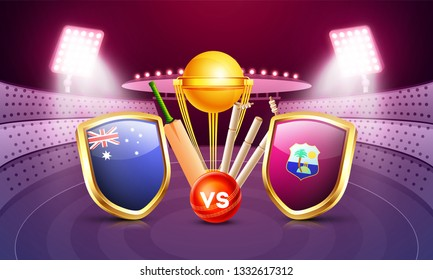 Australia vs West indies cricket match poster design with countries flag shields, champion trophy, cricket bat and ball illustration on night stadium view background.