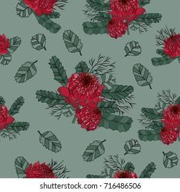 Australia waratah wild flower hand drawn seamless pattern on green background