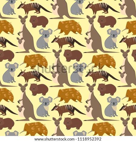 Australia Wild Animals Cartoon Popular Nature Stock Vector