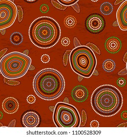 Australian Aboriginal Art. Point drawing. Sea turtles. Seamless pattern. Background brown
