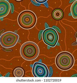 Australian Aboriginal Art. Point drawing. Sea turtles and jellyfish. Seamless pattern. Background brown