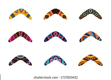 Australian aboriginal boomerang weapon cartoon icons set, flat vector illustration isolated on white background. Traditional souvenir and Australian native symbols.