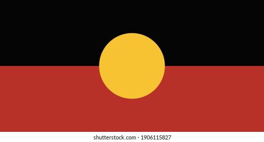 Australian Aboriginal flag emblem graphic element Illustration template design