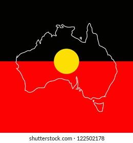 Australian aboriginal flag and map