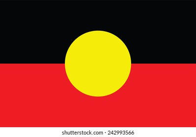 Australian Aboriginal Flag. Original and simple Aboriginal flag isolated vector in official colors and Proportion.  flag of Aborigin vector illustration isolated on white background. Australia