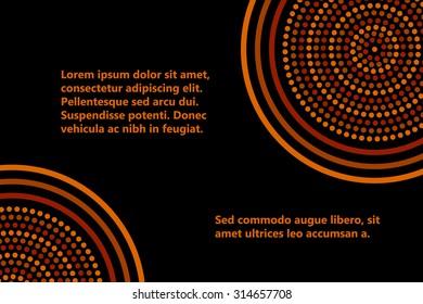 Australian aboriginal geometric art concentric circles banner template in orange brown and black, vector