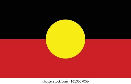 Australian Aboriginal - Mariya flag in proportions and colors vector.