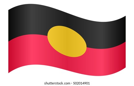 Australian Aboriginal official flag. Commonwealth of Australia patriotic symbol, banner, element, background. Correct colors. Australian Aboriginal flag waving on white background, vector illustration