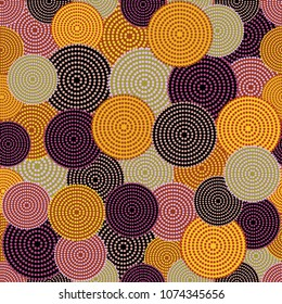 Australian aboriginal seamless vector pattern with colorful dotted circles