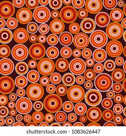 Australian aboriginal seamless vector pattern with colorful dotted circles on dark burgundy background