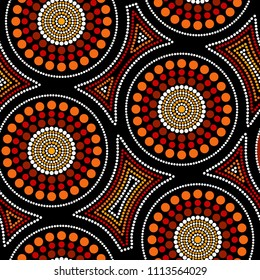 Australian aboriginal seamless vector pattern with colorful dotted circles and crooked squares
